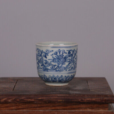 Collect Chinese Ming Dynasty Blue and White Porcelain Lotus Twisting Teacup Cup