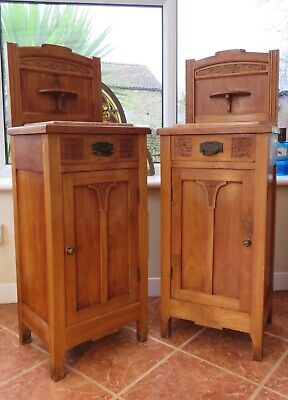 Pair Original Art Neauveu Bedside Cabinets Influenced By Rennie Mackintosh C1900