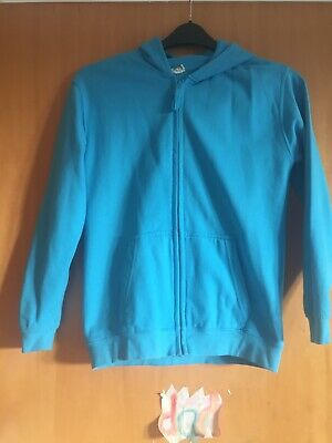 """Gorgeous Blue Girls Hoodie, """"Born to Swim"""" sequin back, age 12-13"""