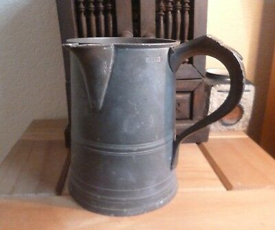 Victorian or Earlier Antique Large Pewter Tankard with Spout