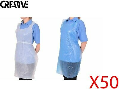 Disposable Medical Apron - White & Blue Waterproof Plastic Coverall Gowns X50