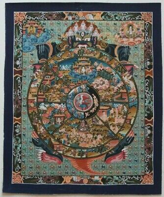 Late 20Th C. Beautiful Wheel Of Life Thangka Painting Founded In Lhasa, Tibet.