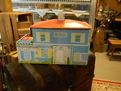 Vintage Marx style Tin Litho Metal Dollhouse 2 Story with some furniture