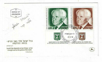 Golda Meir Signed First Day Cover of Ben-Gurion / Autographed Israel Judaica