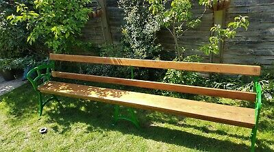 Very Long (9Ft) Antique, Old Tram/Platform/Ferry Bench/Church Pew, Wooden/Iron