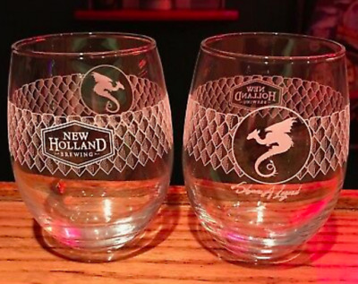 4 New Holland Brewery Rare Dragon's Milk Stemless Beer Glass or Wine