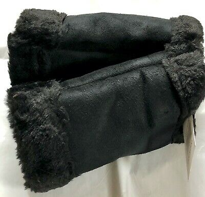 Pair Women's Faux Suede Plush Fingerless Gloves Black Fully Lined Sports Driving