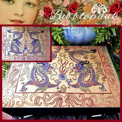 Chinese Dragons Embroidered Silk Covered 2-Tray Jewelry Box ~ Designer's Estate