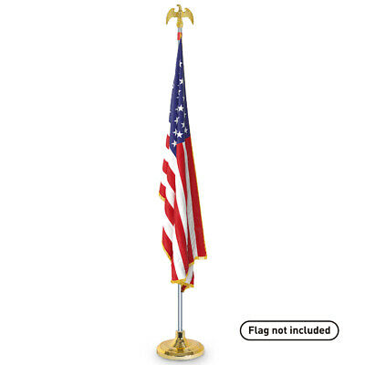 Telescoping Indoor Flag Pole Kit with Base Stand and Gold American Eagle Topper