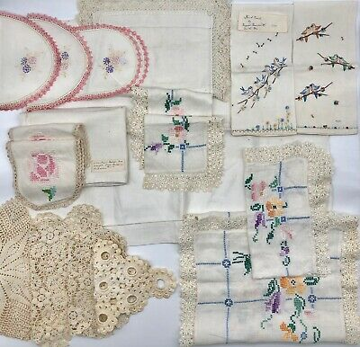 Lot of 18 Vintage Linens Hand Embroidered Handwoven Hand Crochet 1930's