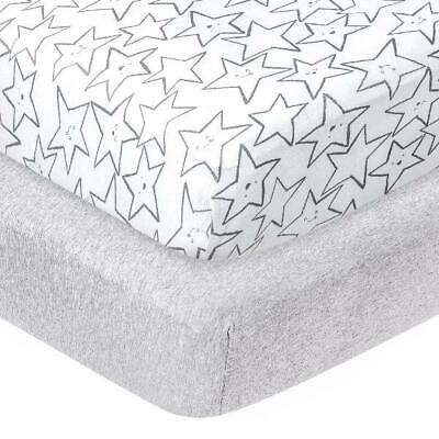 Little Stars Organic 100% Pure Cotton Jersey Knit FItted Crib Sheets, Grey Littl