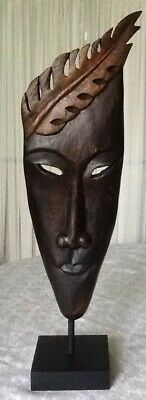 Vintage Handcrafted Wood Tribal Mask with Stand Decor - Thailand, 17.5 in. tall