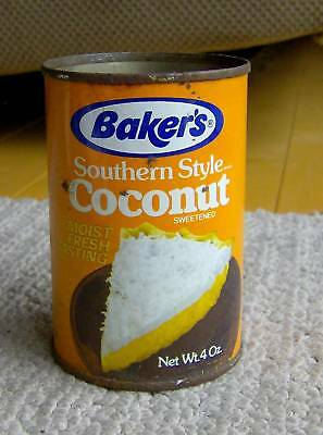 RARE vintage 1970s BAKER'S SOUTHERN STYLE COCONUT tin/can pie FOOD GRAPHICS OLD