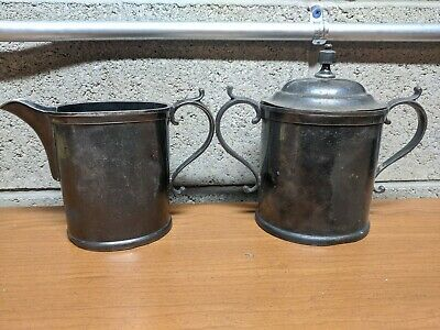 Vintage Antique Homan Silver Plate Co. 300 Creamer and Sugar Bowl
