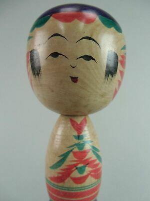 Japanese Wooden Kokeshi Doll Vtg Kimono Girl Ningyo Wood Carving Signed TK12