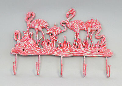 9977538 Cast Iron Figure Hook bar Flamingo Colourful Rustic 36x23cm