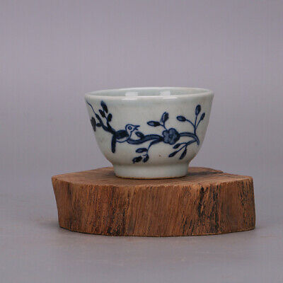Collect China Ming Dynasty Blue and White Porcelain Flowers and Birds Teacup Cup