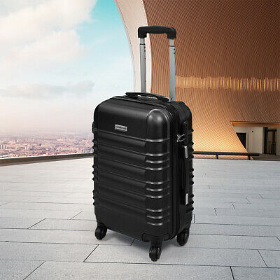"20"" ABS Carry On Luggage Travel Bag Trolley Suitcase Lightweight w/Lock Black"