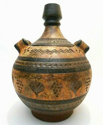 Vint Mexican Sgnd Sgraffito Incised/Stamped Terracotta Lg Cer Wine Jug W/Handles