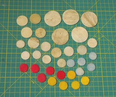 35 x ANTIQUE CHINESE BOVINE BONE GAMING COUNTERS 37 mm to 18 mm