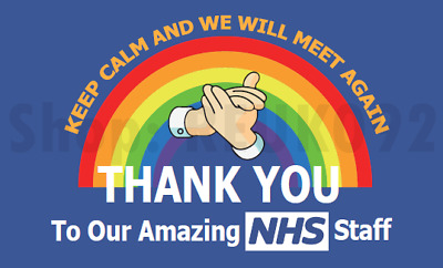 UK STOCK Thank You and Clapping for NHS&KEY WORKERS Rainbow Banner/Flag5FT x 3FT