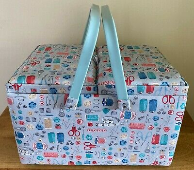 SEWING BASKET BOX 'STITCH IN TIME' DESIGN Large Twin Lid Deep SUPER QUALITY