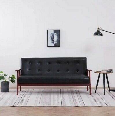 Retro 3 Seater Sofa Mid-Century Modern Black Settee Office Faux Leather Couch