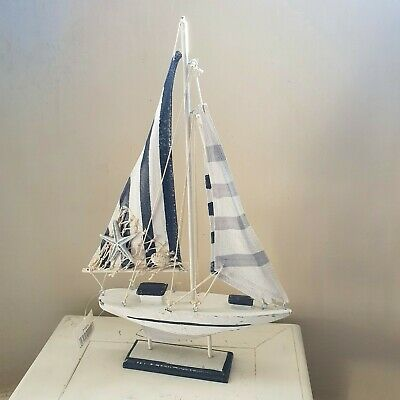 Shabby Chic Pale Blue and White Yacht perpetual calendar Wooden Handmade