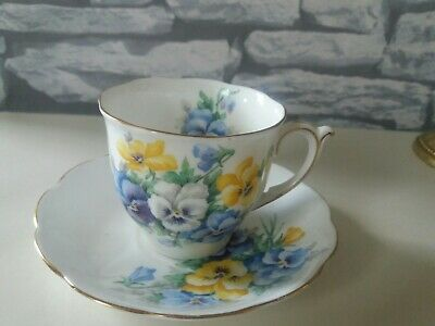 Porcelain White CUP and SAUCER with Blue & Yellow Lovely PANSIES Design & Gold