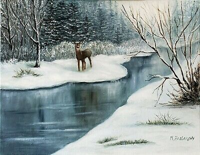"Original Oil Painting *Winter Forest Landscape* 18"" X 14"""