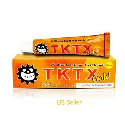 TKTX NEW Gold Lidocaine Skin Cream, Waxing, Tattoo & Piercing (10g per Tube)