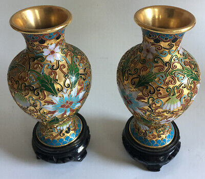 Two (2) Vintage Cloisonné Floral Vase teal/red/green/brass colored background 5""