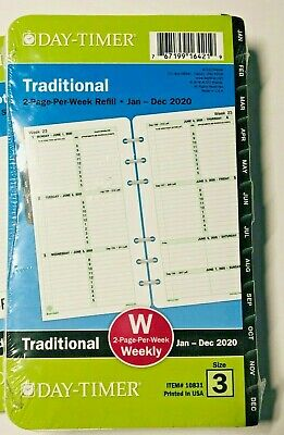 "DAY-TIMER 2020 Refill Size 3 Traditional Weekly/Monthly Planner 3.75""x6.75"""