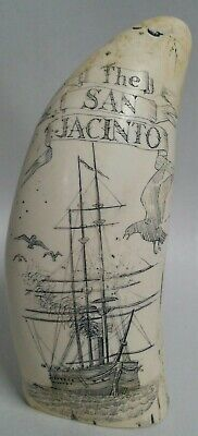 Whale tooth carving resin The San Jacinto  Bahama Channel 1861 Captain Wilkes