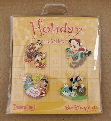 Disneyland Holiday Pin Collection - Lilo & Stitch, Mickey, Chip & Dale, Minnie