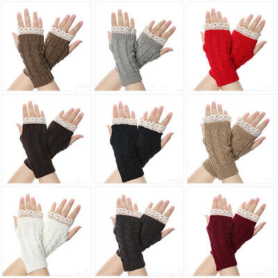 Soft Candy Color Long Knitted Gloves Lace Flower Fingerless Mittens Arm Warmers