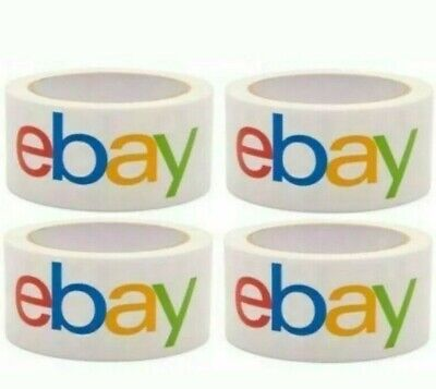 "Lot 4 Rolls 2"" x 75 yards Classic Official eBay Branded Packaging Tape Free Ship"