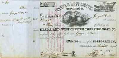 1857 Philad'a & West Chester Turnpike Stock Certificate