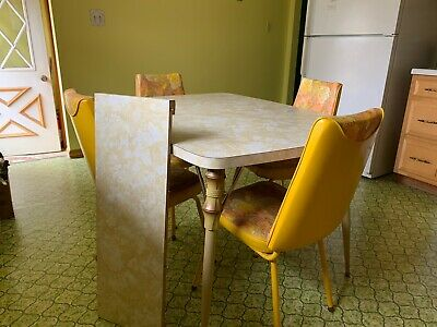 Vintage 1950s 60s Formica Dinette Kitchen Table & Leaf 4 Padded Chairs Set