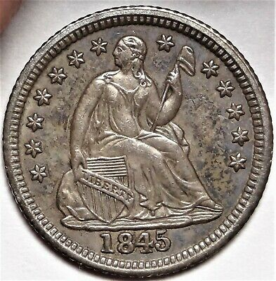 1845 Seated Half Dime Choice Almost Uncirculated H10c Coin from Old Collection