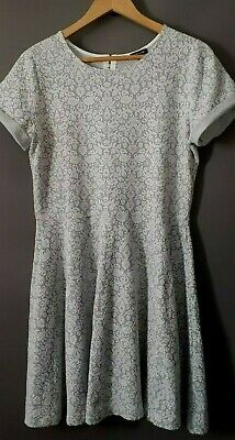 Size 16 RIVER ISLAND Grey & White Fit & Flare Textured Stretchy Cotton Mix Dress
