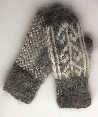 Women's Knitted Goat Down Mohair mittens Warm Longhair white Grey S-M Russia