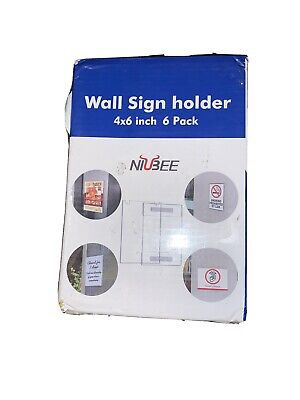 NIUBEE Acrylic Sign Holder 4x6 Horizontal, 3M Tape and Screws (5 Pack)