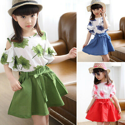 Kids Girls Toddler Cold Shoulder Tops Round Neck Shirts Lace Up A Line Skirts
