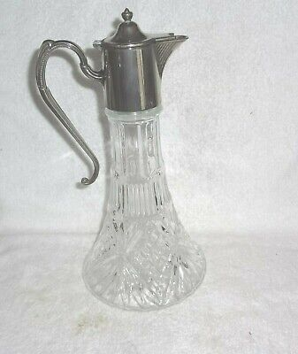 Vintage Silver Plated Cut Glass Claret Jug In Very Good Condition