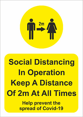 Social Distancing In Operation - 2 Meters Stickers And Foamex Signs-  A5/A4/A3