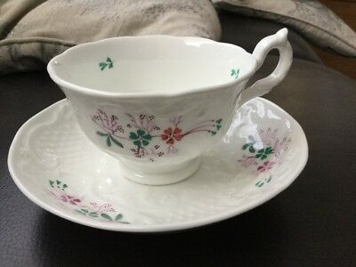 Antique Victorian Teacup & Saucer Hand Painted Beautiful