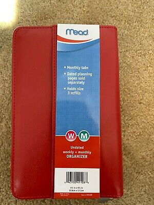 New Mead Red Faux Leather Zippered Planner Undated
