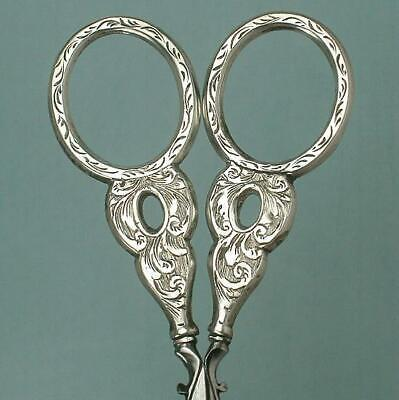 Antique English Sterling Silver Embroidery Scissors * Circa 1840
