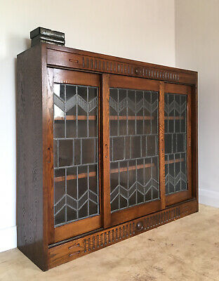 Vintage Art Deco 1930's Oak Three Door Glazed Bookcase